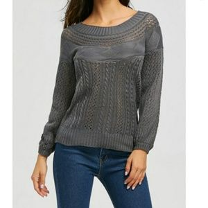 Womens Gray Chunky Cable Knit Sweater